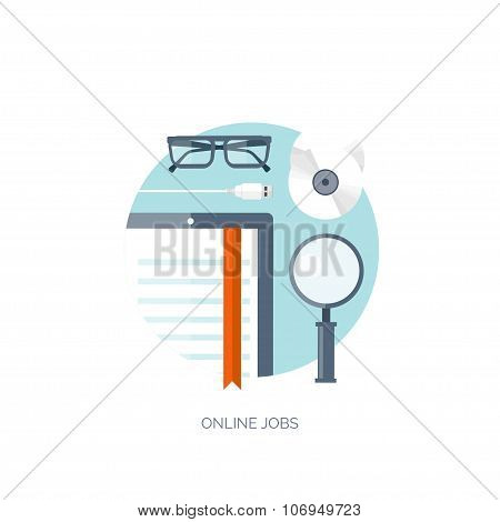 Vector illustration. Flat background. Workplace. Tablet. E-book. Loupe and compact disk. Usb cable.