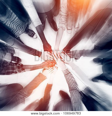 Group of People Hands Clasped Concept