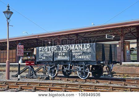 Open Freight Wagon, Minehead Railway Station, Cornwall, England