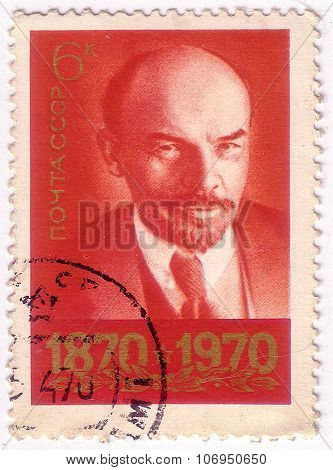 Ussr - Circa 1970: A Stamp Printed In Ussr, Shows Portrait Leader Ussr Vladimir Ilyich Lenin