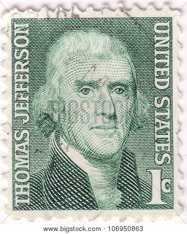 Usa - Circa 1930: A Stamp Printed In Usa Shows Image Portrait Thomas Jefferson, Circa 1930.