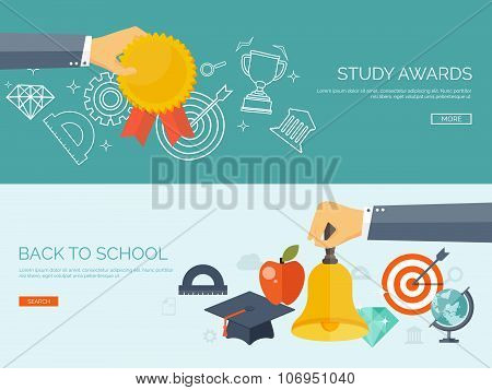 Vector illustration. University. Flat backgrounds set. Education and learning. Award, medal. Online