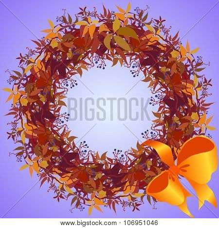 Wild grape wreath and ribbon with bow circle frame.