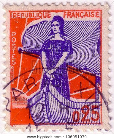 France - Circa 1960: A Stamp Printed In France Shows Marianne In Ship Of State , Circa 1960