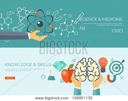 Vector illustration. Flat medical background. Atomic research. Brains and psychology. Pharmacy. Phys