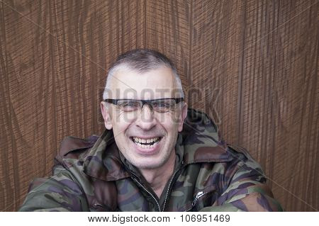 Laughing Man In Camouflage