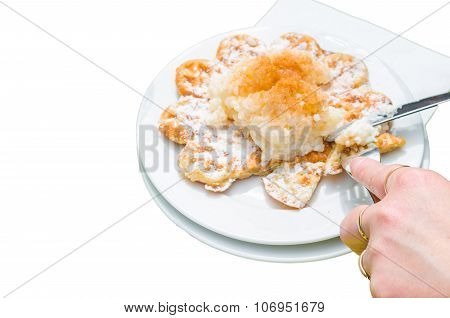 Bergisch Waffles  Against White Background.
