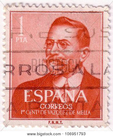 Spain - Circa 1961: Stamp Printed By Spain, Shows Juan Vazquez De Mella, Circa 1961