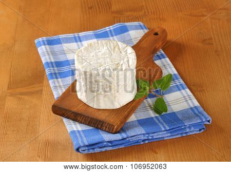 soft white rind cheese on wooden cutting board and checkered dishtowel