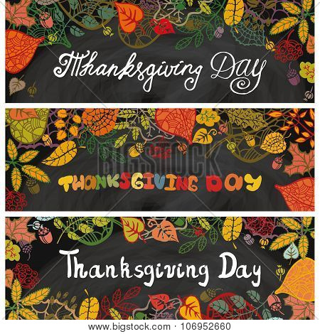 Thanksgiving day banners.Autumn leaves.Chalkboard