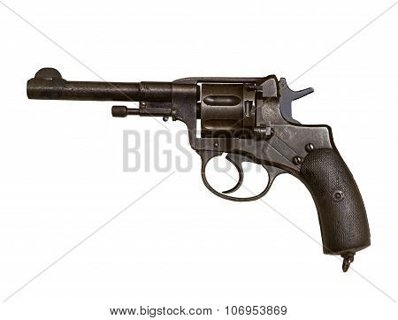 Gun Revolver On A White Background, Isolated