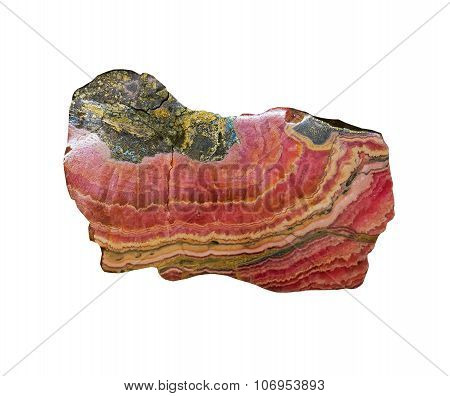 Rhodochrosite Mineral On A White Background,isolated