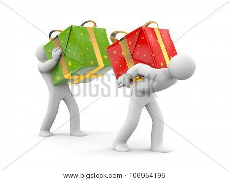 People carry heavy gift