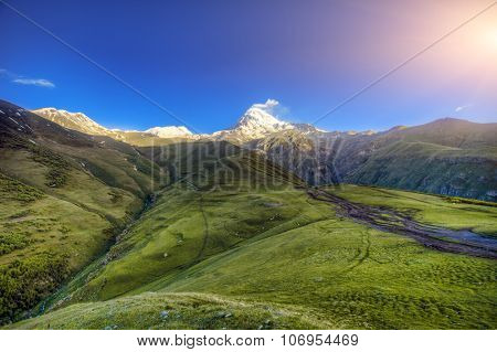 Caucasus mountains in Georgia. Beautiful landscape in Kazbeki region in Georgia