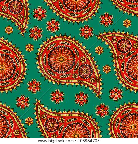 Seamless pattern in Indian style.  Ethnic ornament with flowers and paisleys.