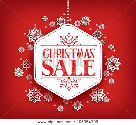 Merry Christmas Sale in Winter Snow Flakes Hanging
