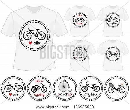 Cycling vector labels for t-shirt design. Set of prints in bike theme. Isolated black silhouettes of