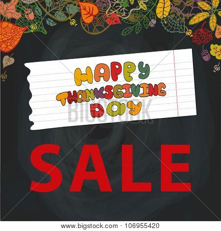 Thanksgiving day Sale.Autumn leaves.Chalkboard
