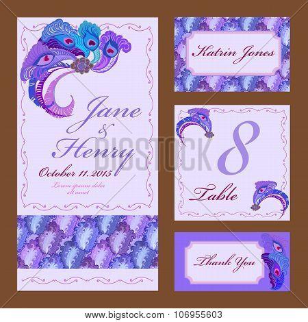 Peacock Feathers Wedding card set. Printable Vector illustration