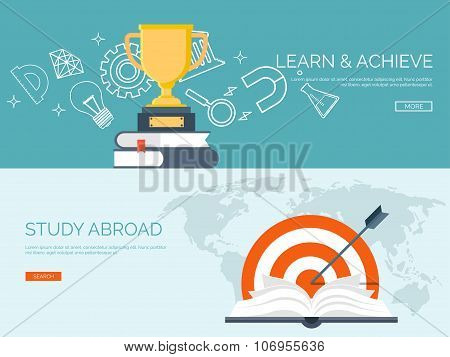 Vector illustration.University. Flat backgrounds set. Education and learning. Online courses and web