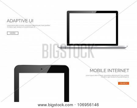 Vector illustration. Realistic laptop and tablet. Adaptive ui. Responcive web design.