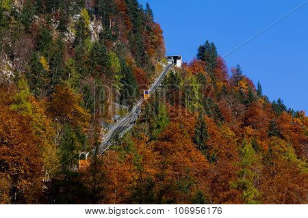 Hallstatt Gondola Lift During The Autumn