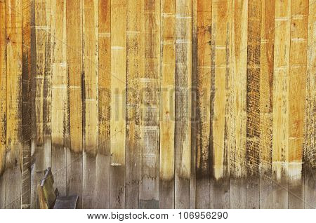 Yellow Wooden Slat Boards on Barn Wall