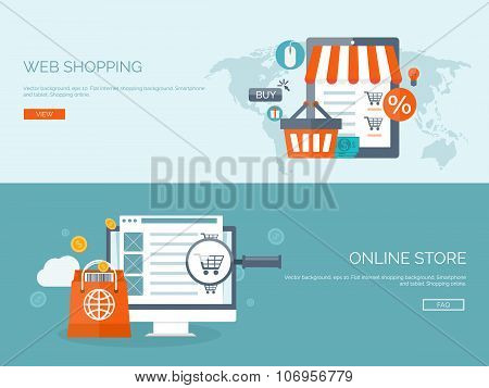 Vector illustration. Flat backgrounds set. Internet shopping. Web store. Global communication and tr