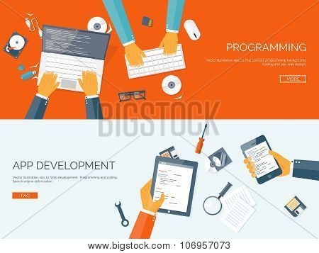 Vector illustration. Flat backgrounds set. Programming and coding online. Web courses. Internet and