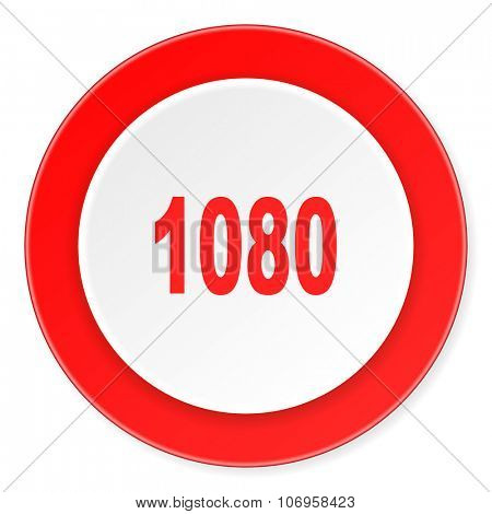 1080 red circle 3d modern design flat icon on white background
