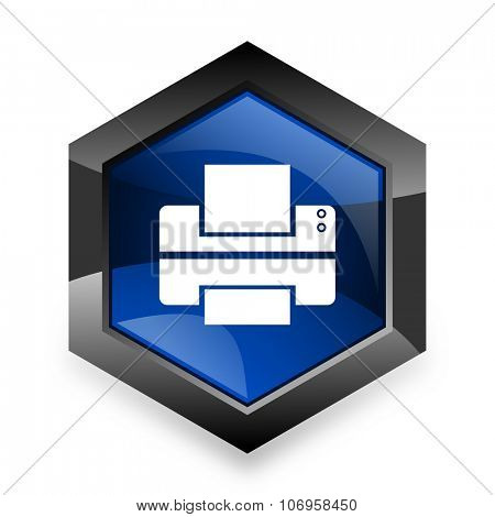 printer blue hexagon 3d modern design icon on white background