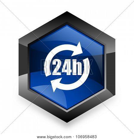 24h blue hexagon 3d modern design icon on white background