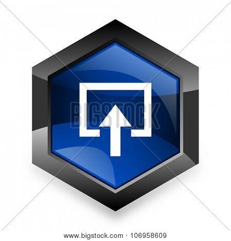 enter blue hexagon 3d modern design icon on white background