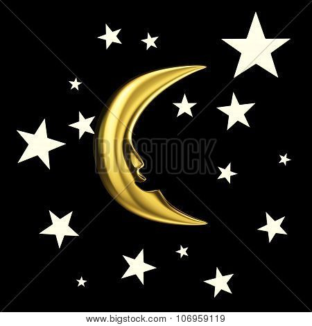 New moon in the sky with stars