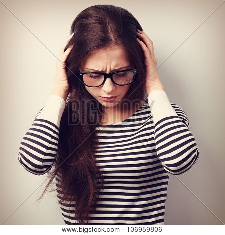 Business Unhappy Young Woman With Headache Holding Head The Hands