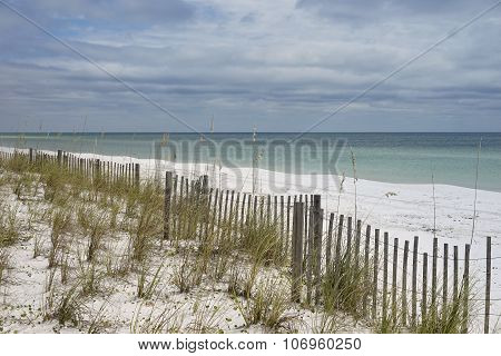 Overcast Day At Pretty Florida Beach With Sand Fence