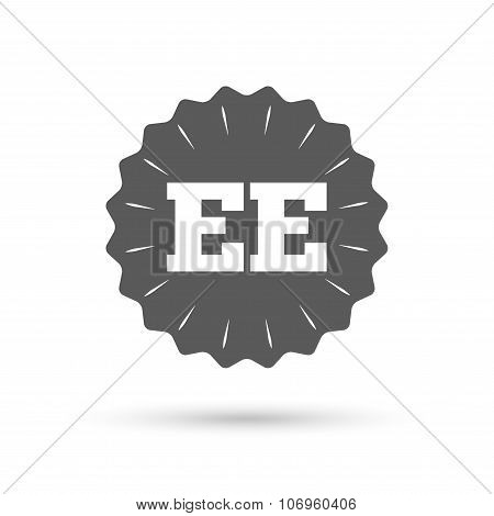 Estonian language sign icon. EE translation.