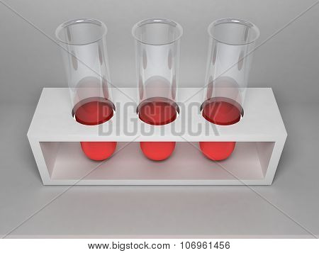 Three Laboratory Tubes Stand