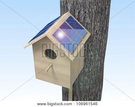 Birdhouse With Solar Panels