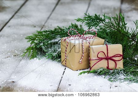 Presents with winter background