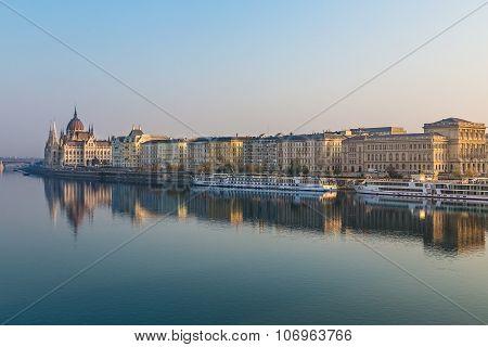 Buildings Along The River Danube In Budapest