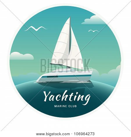 Blue sea with yachts and lighthouse. Sea cruise on a yacht. Yachting. Yacht Club. Vector Illustratio