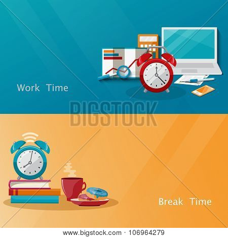 Time management concept planning, organization, working time, time break. Flat vector illustration.