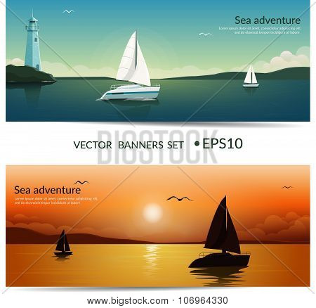 Vector banners. Blue sea with yachts and lighthouse. Sunset at sea with yachts. Sea voyage on the ya