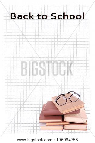 Books in a mess and glasses on paper background