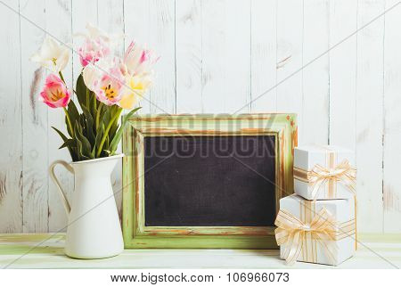 Tulips and chalkboard