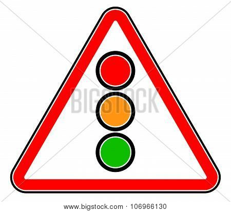 Traffic Light, Semaphore On Triangle Road Sign.