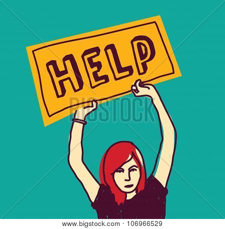 Help sos girl young woman color stress