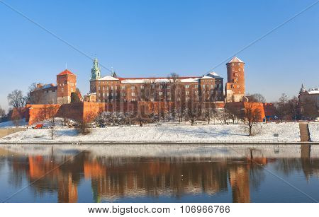 View Of The Wawel Castle And The Vistula River In Krakow In Winter Day