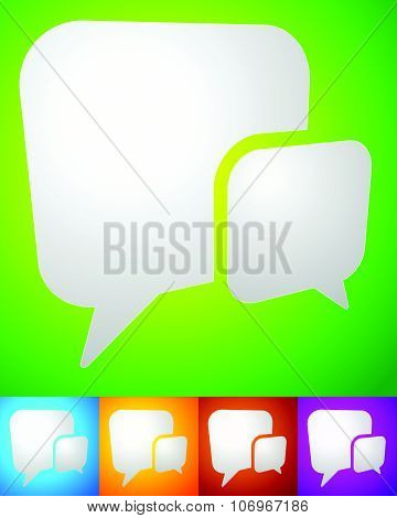 2 Overlapping, Squarish Speech, Talk Bubbles For Communication, Chat, Support Concept
